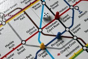 train map board game close up
