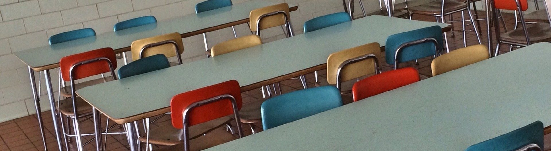 Colorful school chairs and tables